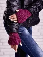 Fuksjowe rękawiczki bez palców z nakładaną górą na guzik