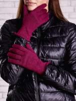 Fuksjowe rękawiczki z metalizowaną nicią z wywijanym mankietem                                  zdj.                                  1