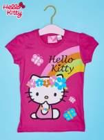Fuksjowy t-shirt dla dziewczynki nadruk HELLO KITTY                                  zdj.                                  1