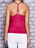 Fuksjowy top sportowy z siateczką i ramiączkami w kształcie litery T na plecach                                                                          zdj.                                                                         4