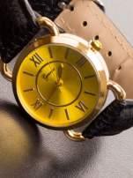 GENEVA Damski zegarek ze złotą tarczą na czarnym, skórzanym pasku                                  zdj.                                  2
