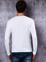 Gładka bluzka męska biała z długim rękawem                                  zdj.                                  3