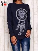 Grafitowa bluza z motywem sowy i łapacza snów