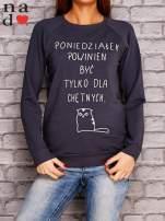 Grafitowa bluza z napisem PONIEDZIAŁEK POWINIEN BYĆ TYLKO DLA CHĘTNYCH                                  zdj.                                  1