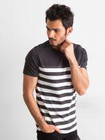 Grafitowy męski t-shirt w paski                                  zdj.                                  2