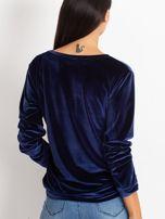Granatowa aksamitna bluza z herbem z dżetów                                  zdj.                                  5