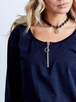 Granatowa bawełniana sukienka z kieszeniami                                  zdj.                                  10