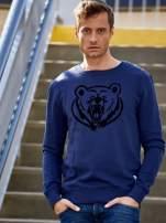 Granatowa bluza męska z niedźwiedziem                                  zdj.                                  1