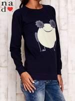 Granatowa bluza z komiksowym nadrukiem                                  zdj.                                  3