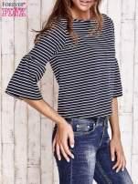 Granatowa bluzka w paski z suwakiem na plecach                                  zdj.                                  3