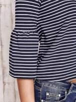 Granatowa bluzka w paski z suwakiem na plecach                                  zdj.                                  6