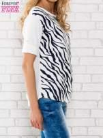 Granatowa bluzka z nadrukiem zebry                                  zdj.                                  3