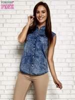 Granatowa denimowa koszula z motywem panterki                                  zdj.                                  3