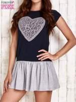Granatowa dresowa sukienka tenisowa z sercem                                                                          zdj.                                                                         1
