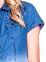 Granatowa jeansowa koszula z krótkim rękawem z efektem ombre                                                                          zdj.                                                                         6
