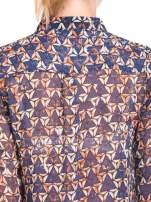 Granatowa koszula mgiełka w geometryczne wzory                                  zdj.                                  8