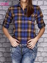 Granatowa koszula w kratę                                  zdj.                                  5