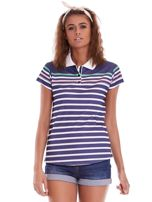 Granatowa koszulka polo w paski                                  zdj.                                  2