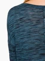Granatowa melanżowa bluzka o obniżonej linii ramion                                                                          zdj.                                                                         8