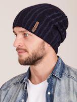 Granatowa męska zimowa czapka w warkocze                                  zdj.                                  2