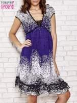 Granatowa sukienka baby doll w ciapki                                  zdj.                                  1