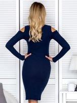Granatowa sukienka cold arms w prążek                                  zdj.                                  2