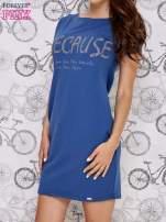 Granatowa sukienka dresowa z napisem BECAUSE