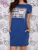 Granatowa sukienka dresowa z napisem GO TO THE GYM                                  zdj.                                  1