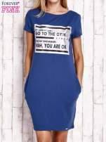 Granatowa sukienka dresowa ze srebrnym printem GO TO THE GYM                                  zdj.                                  1
