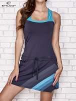 Granatowa sukienka sportowa z niebieskimi wstawkami                                  zdj.                                  1