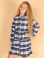 Granatowa sukienka w kratę dla dziewczynki                                  zdj.                                  1