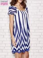 Granatowa sukienka w paski z bufiastymi rękawkami                                  zdj.                                  3