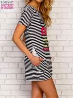 Granatowa sukienka w paski z napisem TIME IS UP                                                                          zdj.                                                                         3