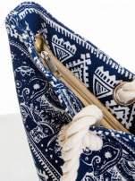 Granatowa torba plażowa w indyjskie wzory                                  zdj.                                  6