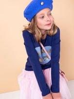 Granatowa tunika dziewczęca z naszywką                                  zdj.                                  3