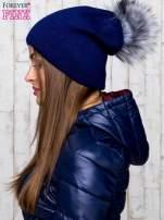 Granatowa wełniana czapka z futrzanym pomponem