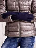 Granatowe długie rękawiczki z przeszywanym ściągaczem                                  zdj.                                  2