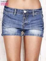 Granatowe jeansowe szorty z przetarciami                                  zdj.                                  1