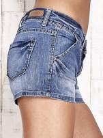 Granatowe jeansowe szorty z przetarciami                                                                          zdj.                                                                         5