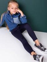 Granatowe legginsy dziewczęce zapinane na suwak                                  zdj.                                  2