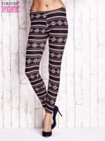 Granatowe legginsy z zimowym nadrukiem                                  zdj.                                  1