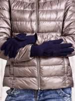 Granatowe rękawiczki z kokardką i długim ściągaczem                                  zdj.                                  2
