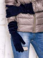 Granatowe rękawiczki z marszczonym mankietem                                                                          zdj.                                                                         3