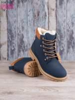 Granatowo-beżowe buty trekkingowe damskie traperki ocieplane                                                                          zdj.                                                                         3