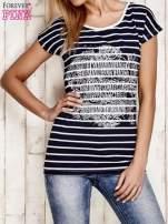 Granatowo-biały t-shirt w paski z napisem SCORPION BAY                                                                          zdj.                                                                         1