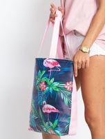 Granatowo-różowa torba z nadrukiem                                  zdj.                                  3