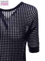 Granatowy ażurowy sweter oversize
