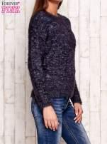 Granatowy melanżowy sweter z dłuższym włosem                                                                          zdj.                                                                         3