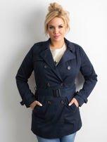 Granatowy płaszcz typu trencz                                  zdj.                                  1