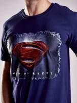 Granatowy t-shirt męski MAN OF STEEL                                  zdj.                                  6